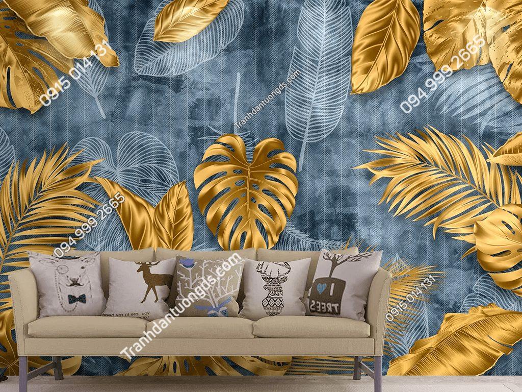 Tranh dán tường lá cây vàng 5D049 dán sau sofa