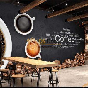 Tranh dán tường quán cafe bar 5D055 phong cách Âu Mỹ