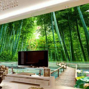 Tranh dán tường rừng tre xanh và cầu gỗ 5D059