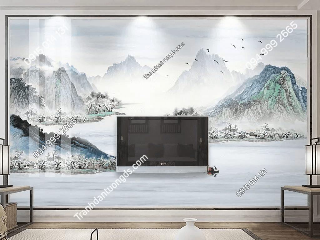 Tranh dán tường sơn thủy mây mù 5D066 sau tivi