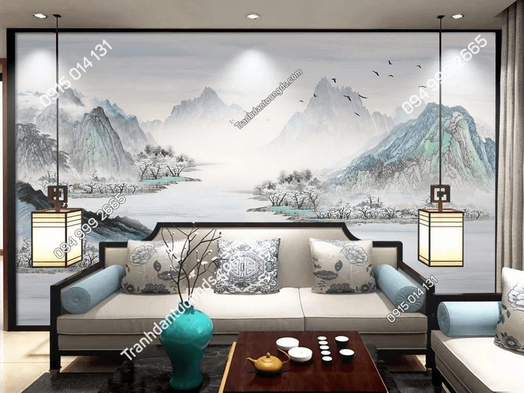 Tranh dán tường sơn thủy mây mù 5D066