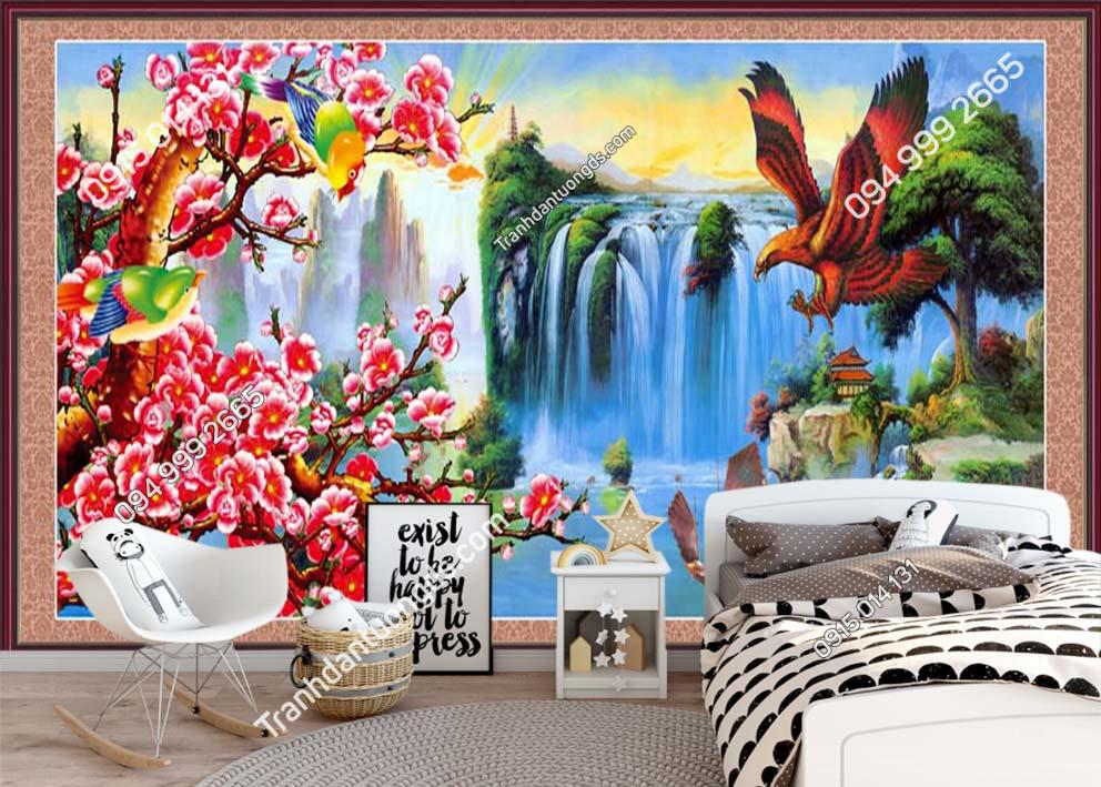 Tranh dán tường đại bàng và hoa RCP33