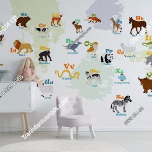 Tranh dán tường hình động vật 26 chữ cái DS_18460994