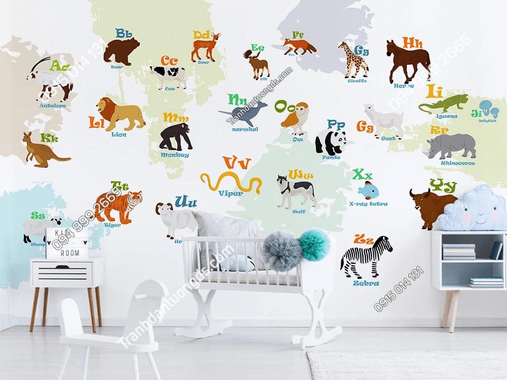 Tranh dán tường hình động vật 26 chữ cái phòng trẻ em DS_18460994