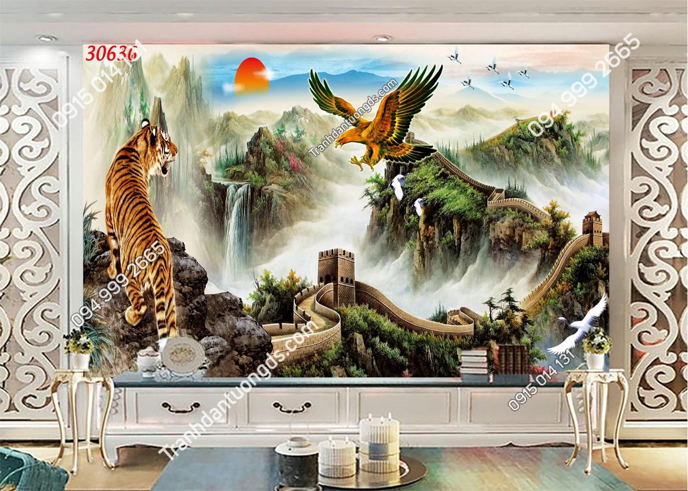 Tranh dán tường hổ và đại bàng 30636