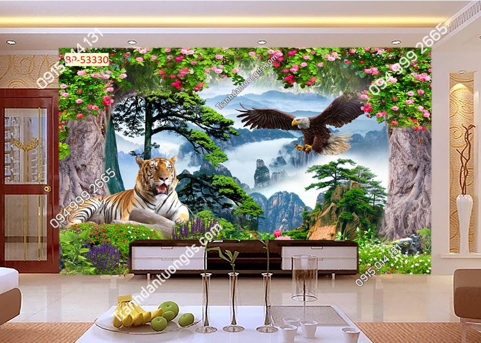 Tranh dán tường hổ và đại bàng 53330