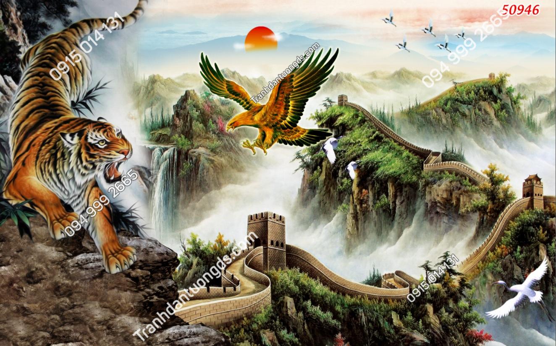 Tranh dán tường hổ và đại bàng bay trên tường thành 50946