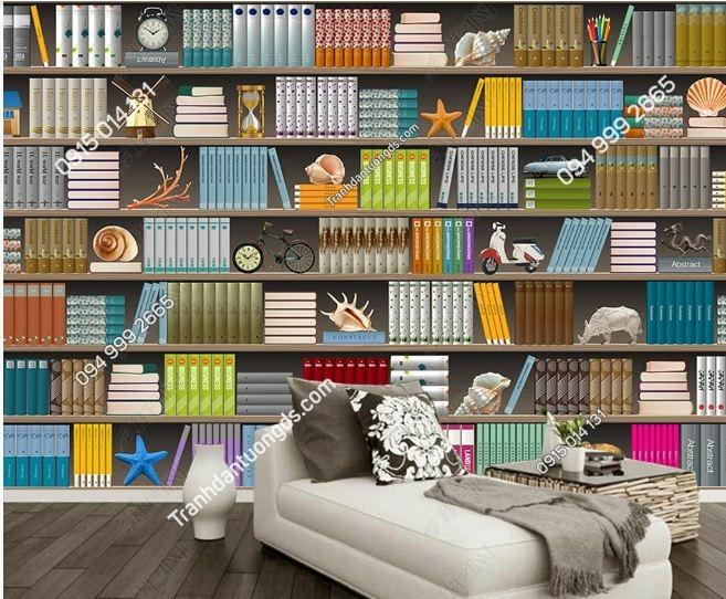 Tranh tường giả kệ sách hiện đại DS_16604333
