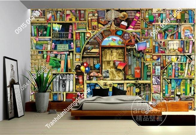 Tranh tường giả kệ sách sắc màu cho phòng trẻ em DS_15072179