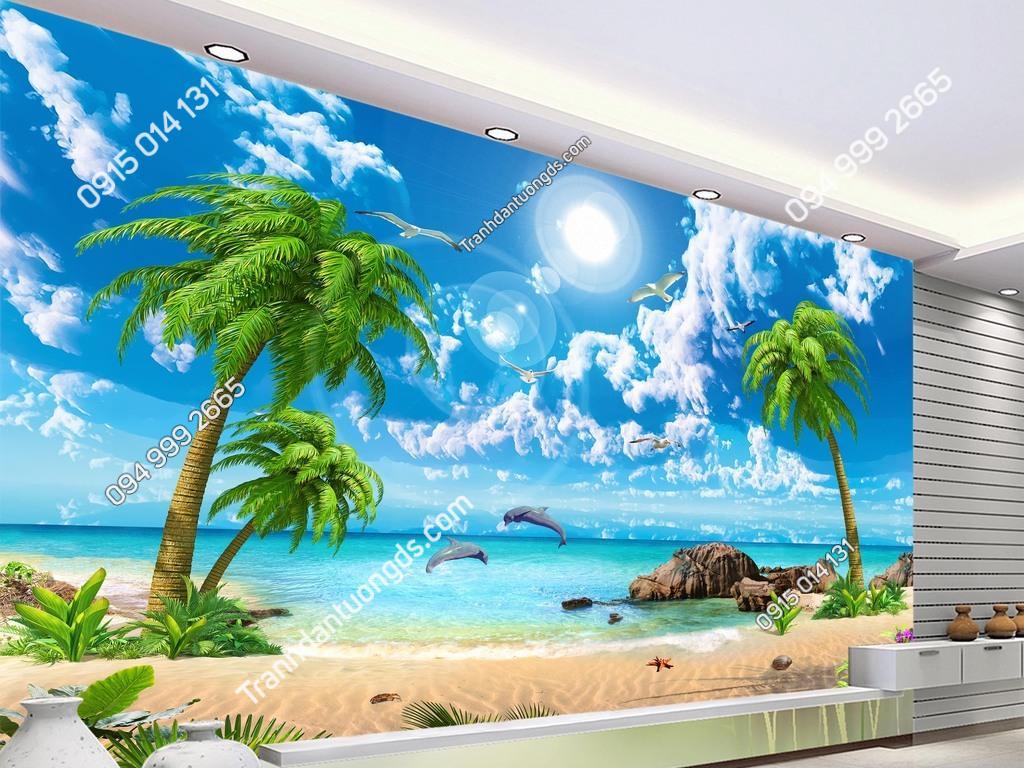 Tranh 3D phong cảnh biển dán phòng khách