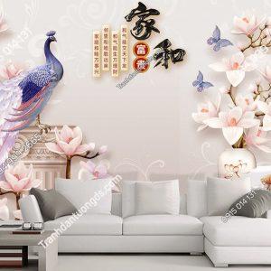 Tranh dan tuong chim cong hoa su trang tri sau sofa DS_17483298