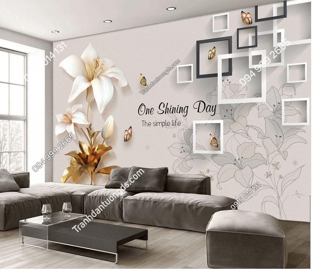 Tranh dán tường 5D hoa giả ngọc đẹp phòng khách