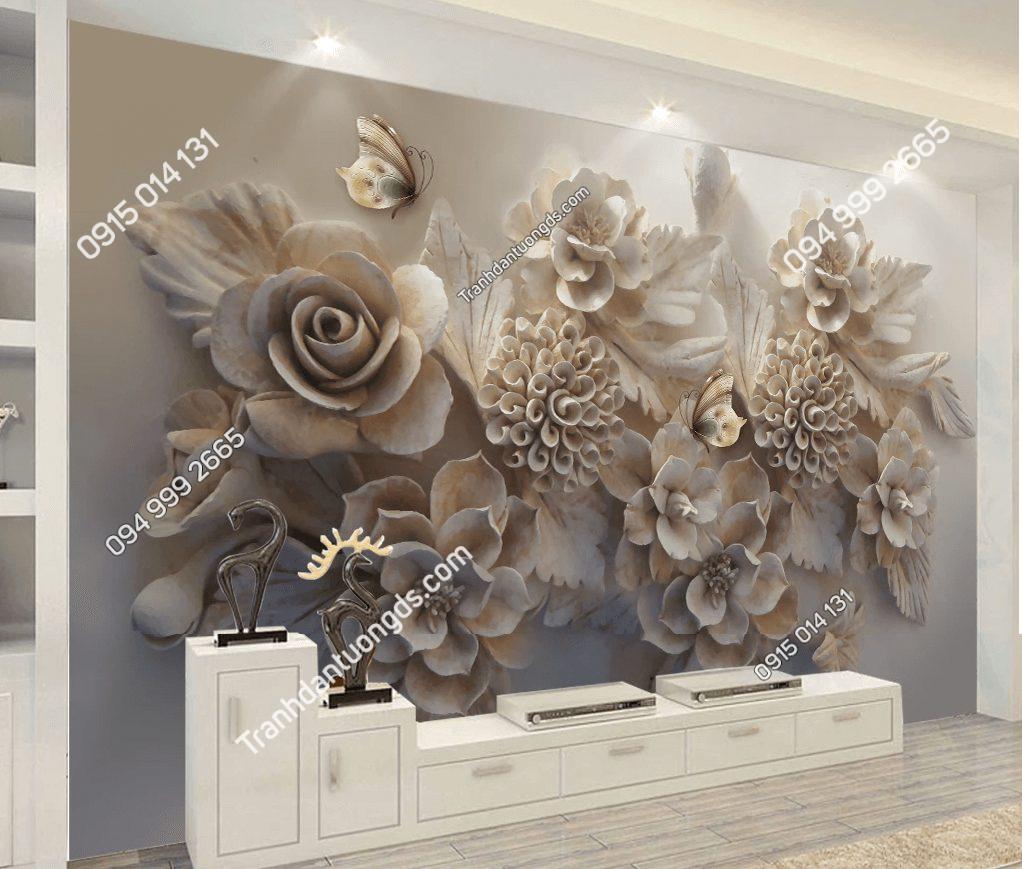 Tranh hoa 5D giả ngọc phòng khách sang trọng