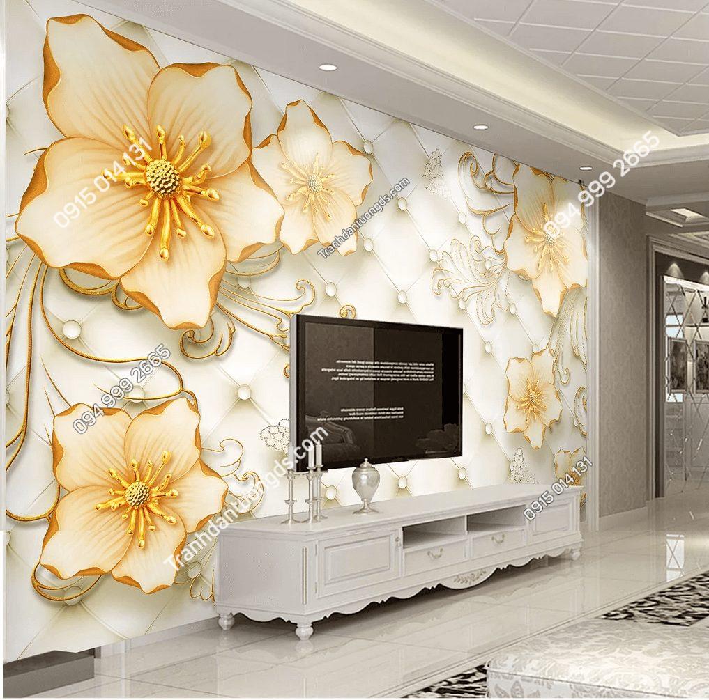 Tranh hoa nổi giả ngọc 5D phòng khách