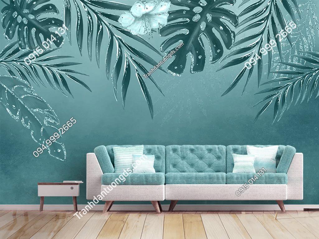 Tranh lá cây xanh nhẹ nhàng dán phòng khách