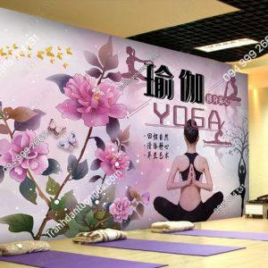 Tranh hoa dán tường yoga spa DS_24364586