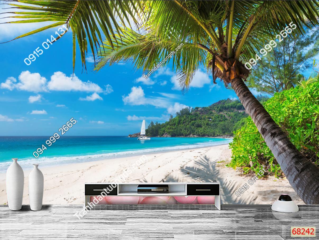Tranh dán tường bãi biển 68242 demo