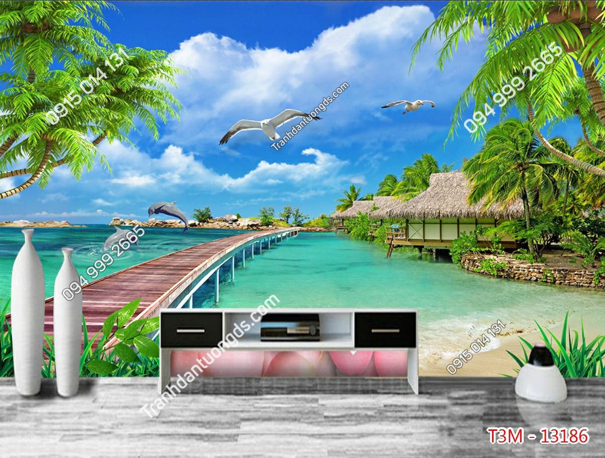 Tranh dán tường cảnh biển - 13186 demo