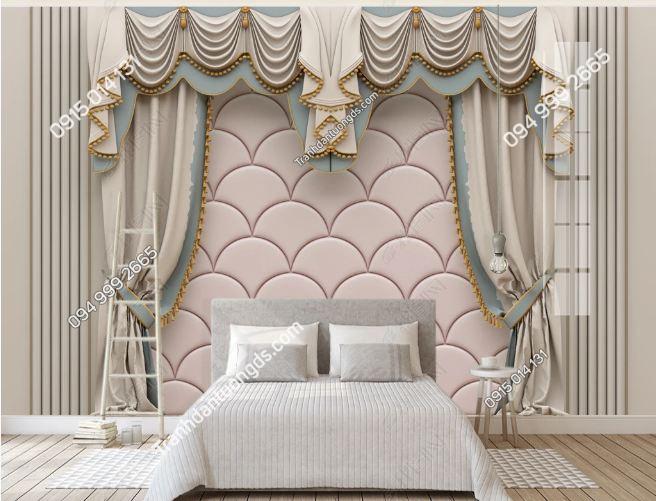 Tranh giả rèm hiện đại dán tường phòng ngủ DS_19282261
