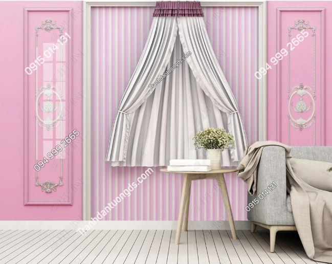 Tranh tường giả rèm hồng phòng ngủ DS_20302897