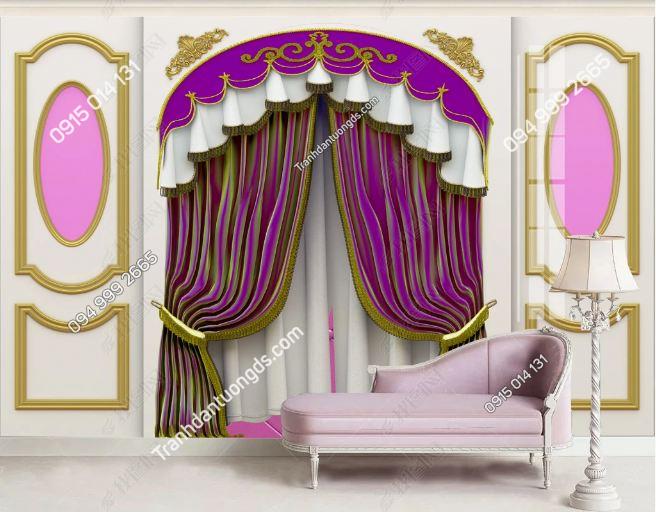 Tranh tường giả rèm tông hồng dán phòng ngủ DS_19282259