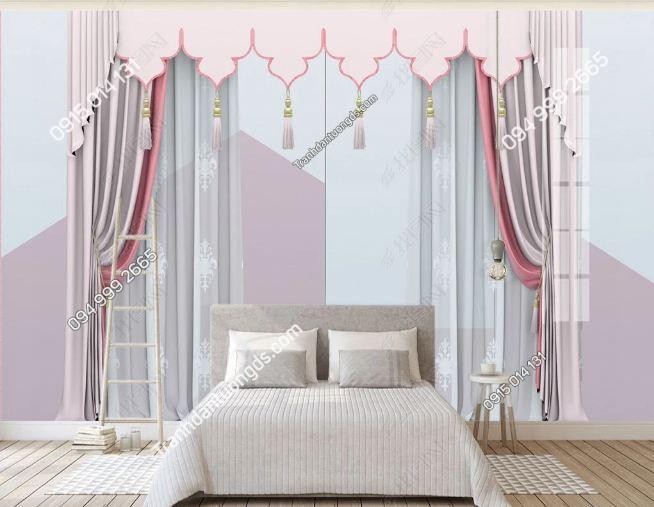 Tranh tường giả rèm tông hồng dán phòng ngủ DS_23683280