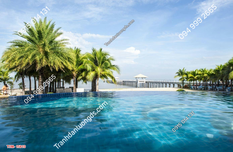 Tranh dán tường hàng dừa biển 15810 DEMOM