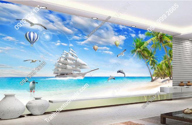 Tranh dán tường phong cảnh bãi biển cây dừa và thuyền buồn DS_13461045