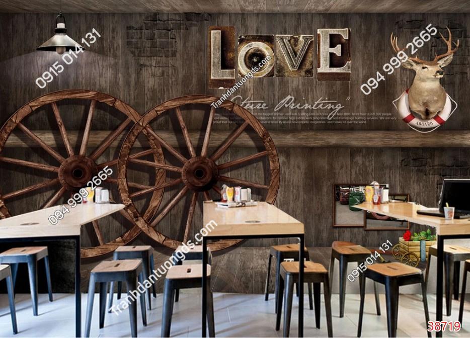 Tranh dán tường 3D quán cafe