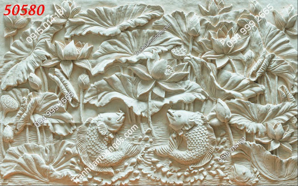 Tranh dán tường điêu khắc sen cá chép 50580