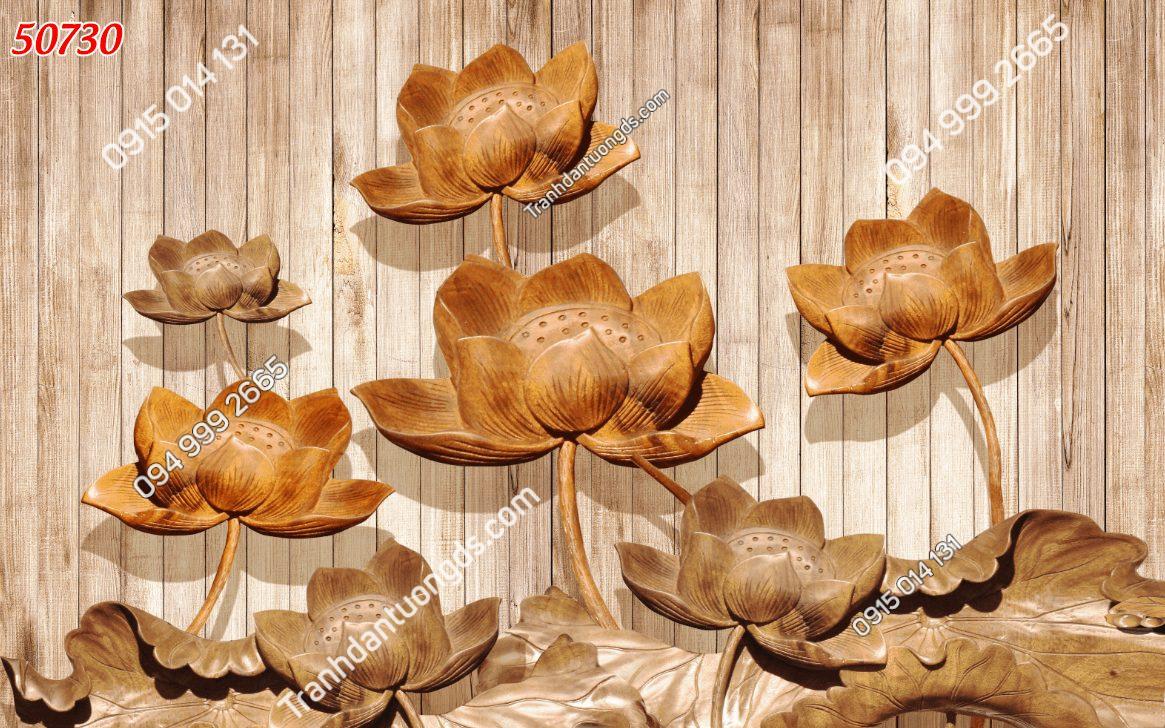 Tranh dán tường điêu khắc hoa sen 50730