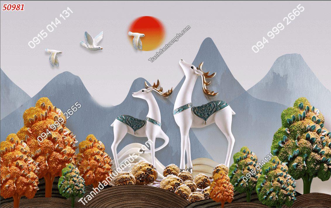 Tranh dán tường điêu khắc cặp nai trắng 50981