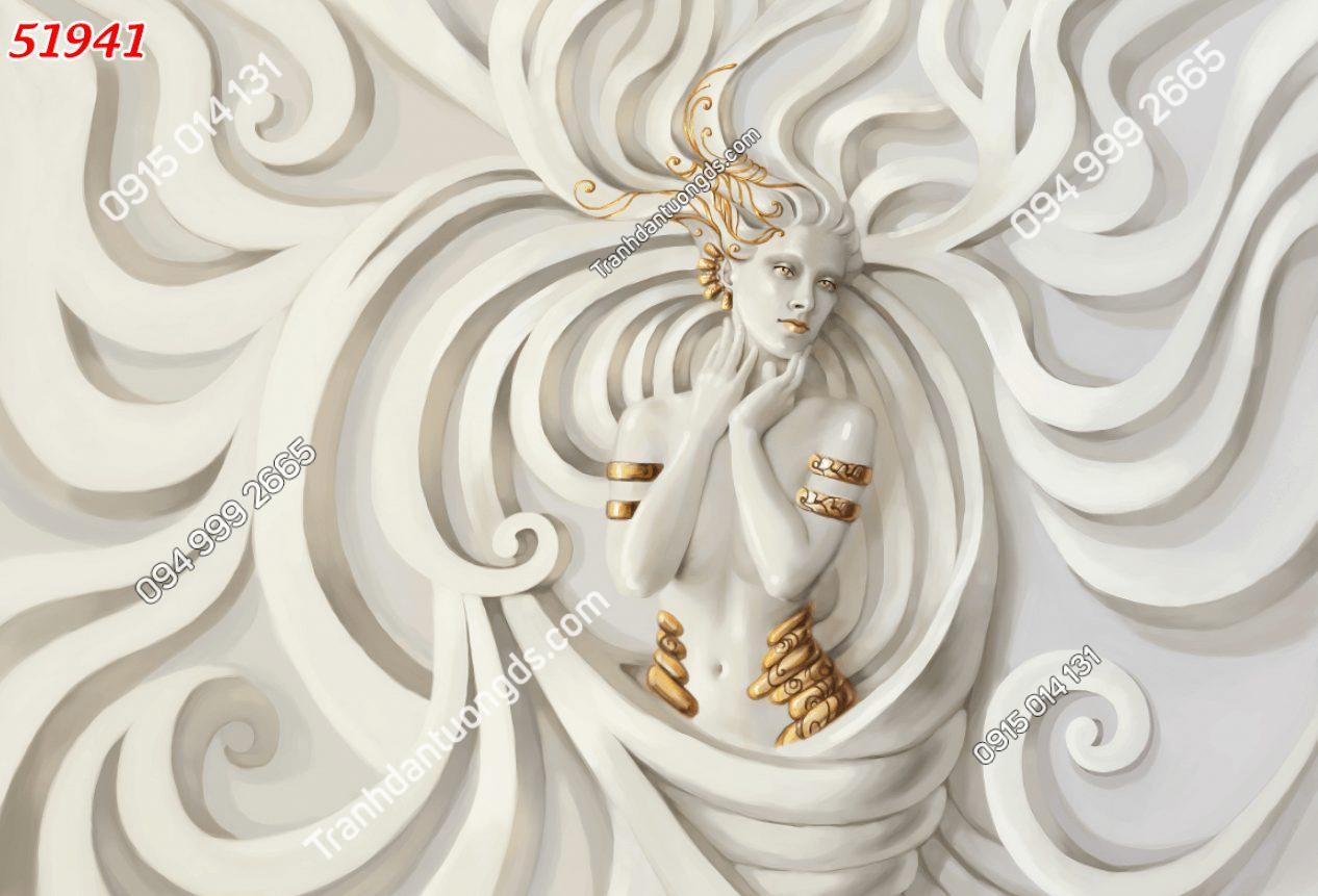 Tranh dán tường điêu khắc cô gái 51941