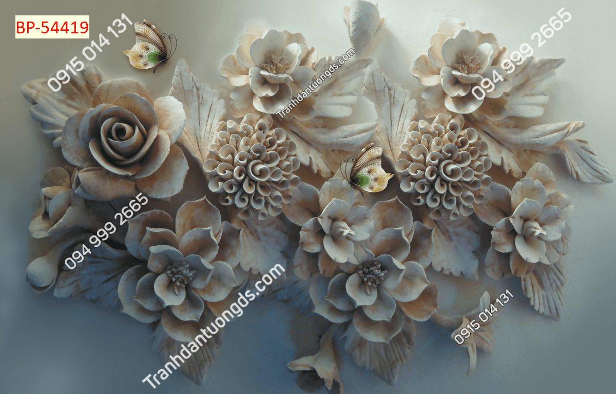Tranh dán tường điêu khắc hoa 54419