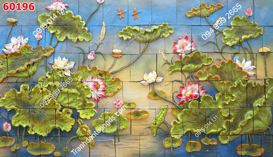 Tranh dán tường điêu khắc hoa sen 60196