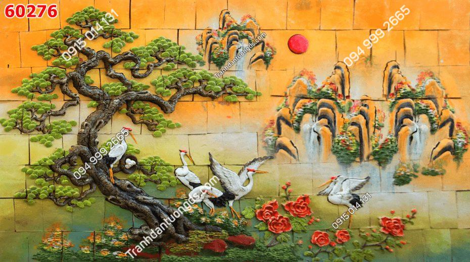 Tranh dán tường điêu khắc sơn thủy 60276