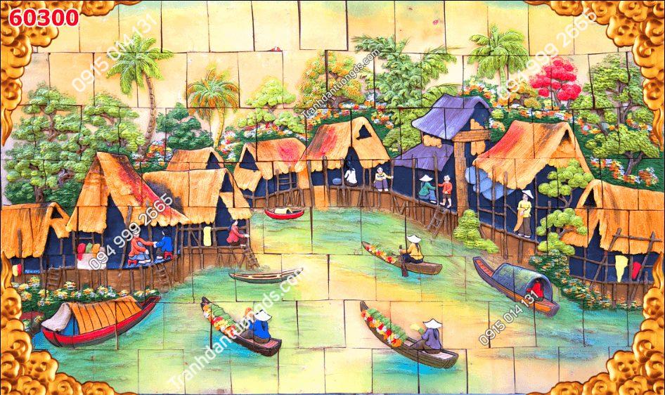 Tranh dán tường điêu khắc làng chài 60300