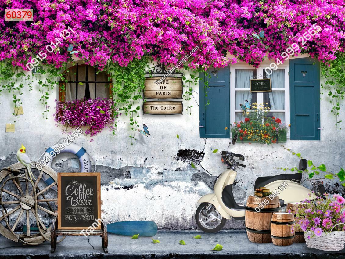 Tranh dán tường 3D tường hoa phố cổ quán cafe trà sữa