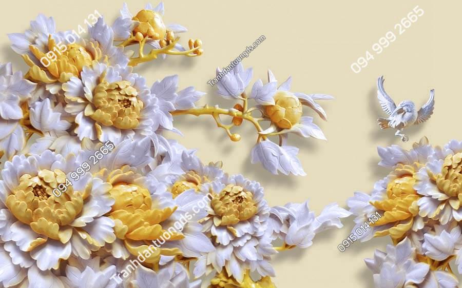 Tranh dán tường điêu khắc hoa DK01