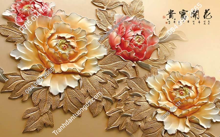 Tranh dán tường điêu khắc hoa mẫu đơn DK02