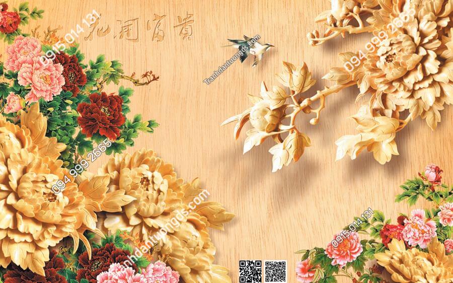 Tranh dán tường điêu khắc hoa mẫu đơn DK03