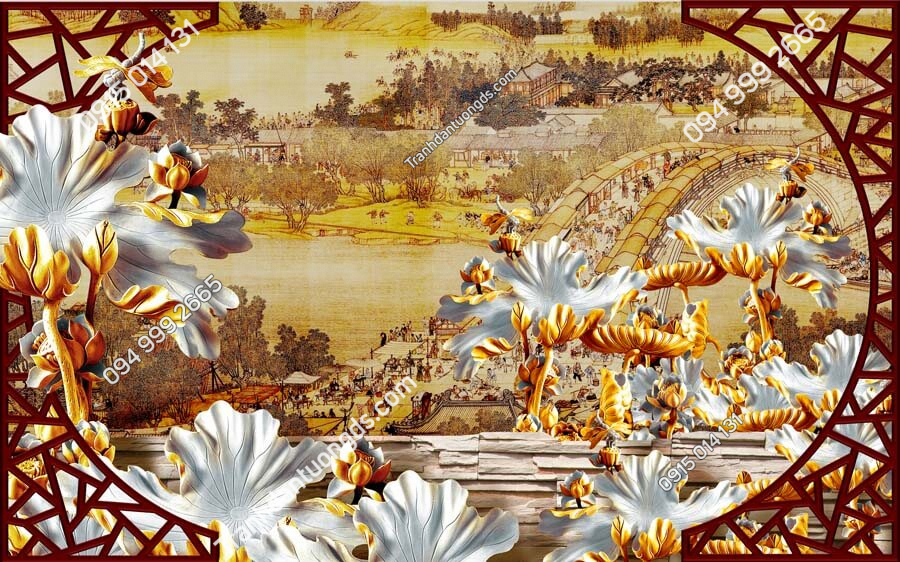 Tranh dán tường điêu khắc hoa DK28