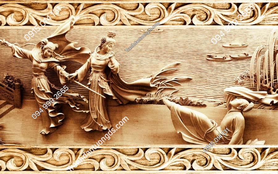Tranh dán tường điêu khắc cô gái múa kiếm DK30