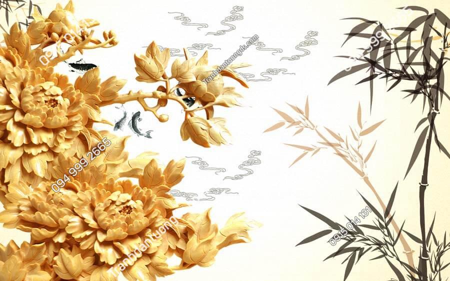 Tranh dán tường điêu khắc hoa và trúc DK41