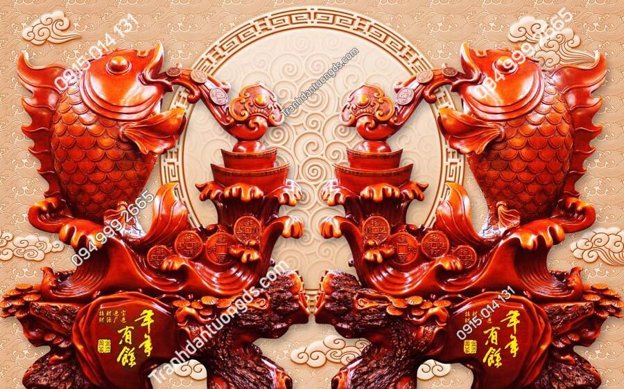 Tranh dán tường điêu khắc song chép phun châu DK72