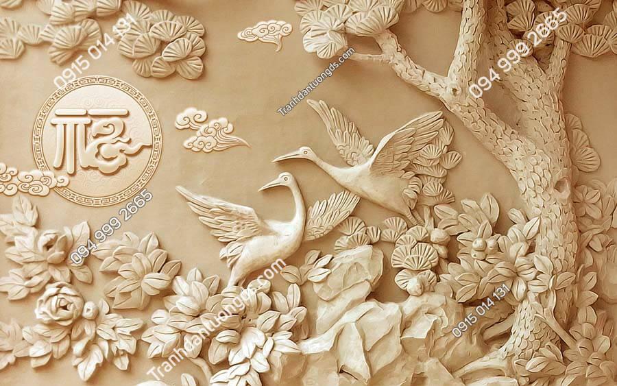 Tranh dán tường điêu khắc chim DK80