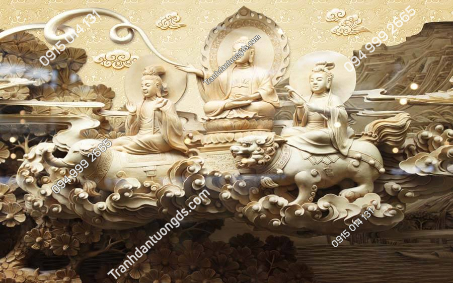 Tranh dán tường điêu khắc phật DK84
