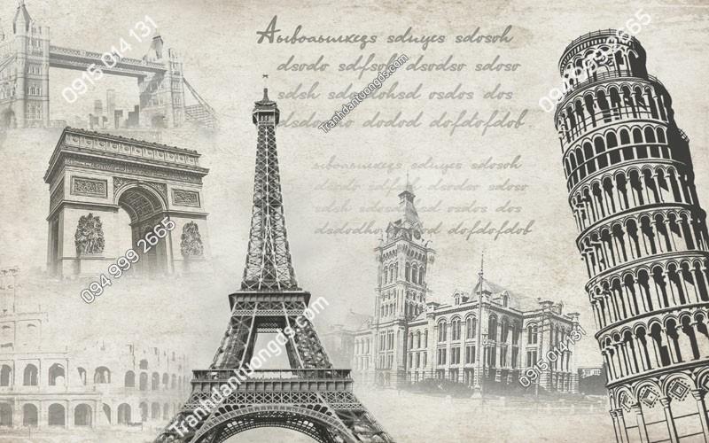 Tranh dán tường tháp Eiffel cho quán cafe trà sữa