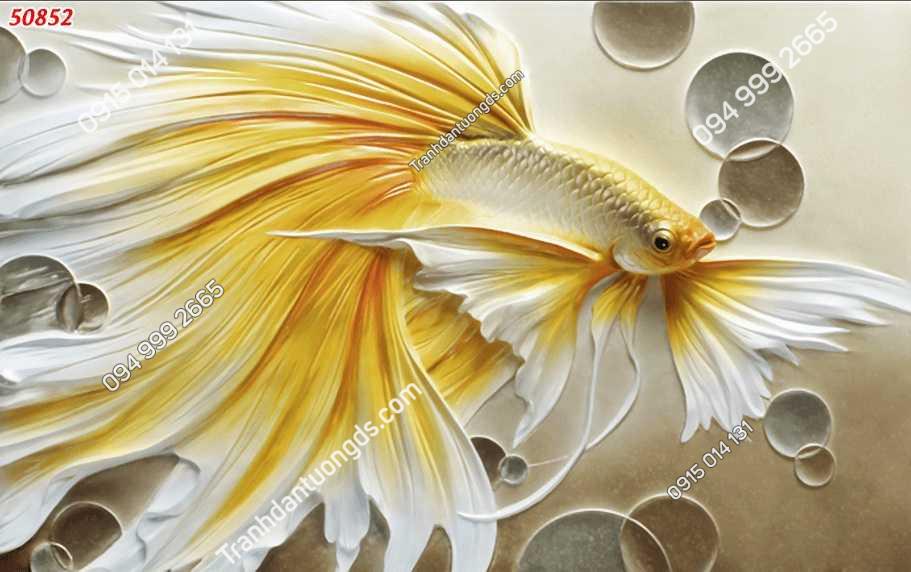 Tranh dán tường điêu khắc cá chép 50852