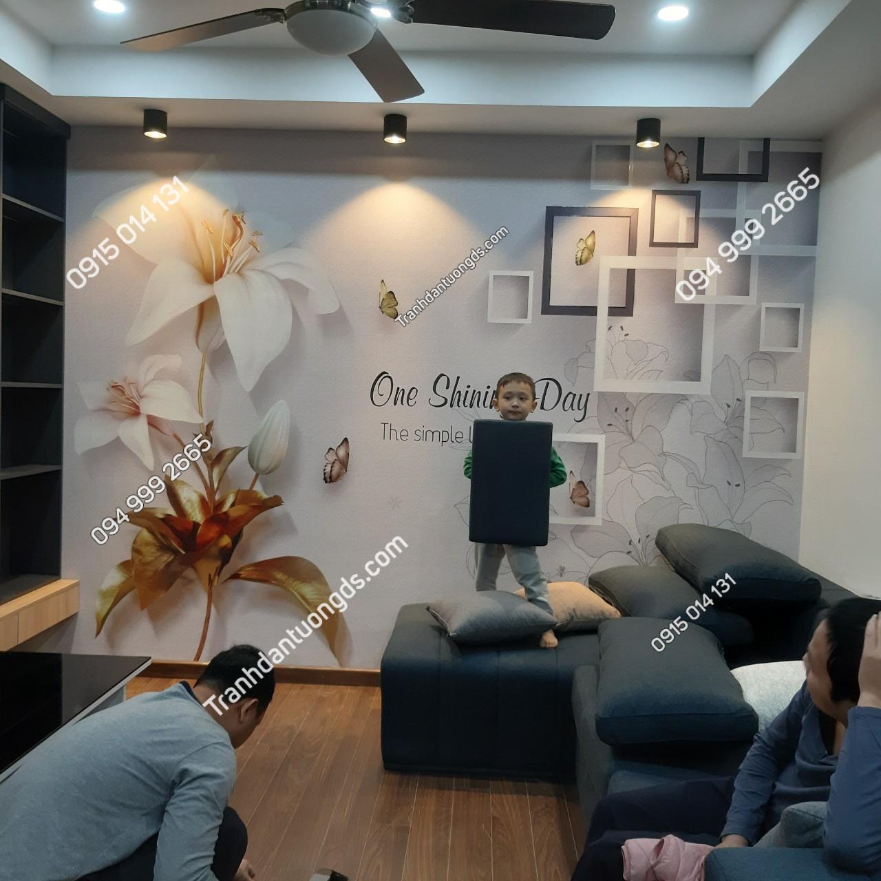 Tranh dán tường hoa 5D phòng khách